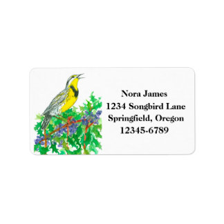 Western Meadowlark Oregon State Bird Address Label