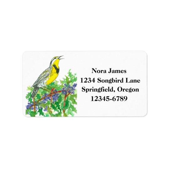 Western Meadowlark Oregon State Bird Address Label