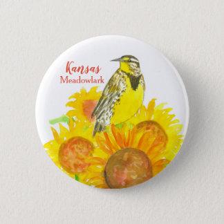 Western Meadowlark Sunflowers Kansas 2 Inch Round Button