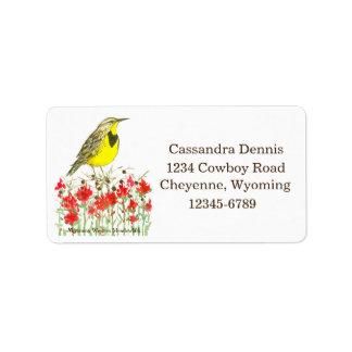 Western Meadowlark Wyoming Return Address Label