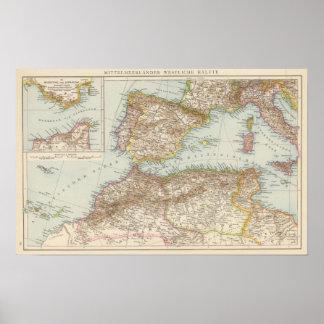 Western Mediterranean Map Poster
