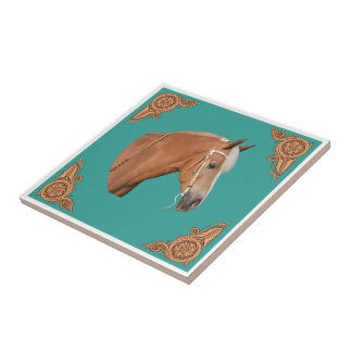 Western Palomino Horse With Leather Corners Tile