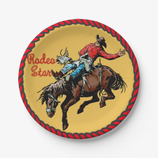 Western Party Bronc Riding Paper Plates 7 Inch Paper Plate