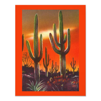 WESTERN PARTY INVITATION SW SUNSET SAGUARO CACTUS