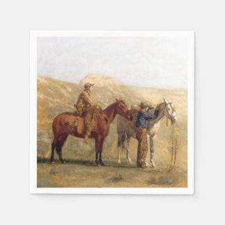 Western Party Napkins Cowboys With Horses Vintage Paper Napkins