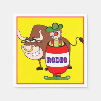 Western Party Rodeo Clown In Barrel And Bull Paper Napkins