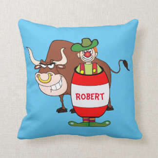Western  Pillow Rodeo Clown And Bull Personalize
