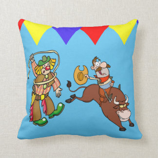 Western  Pillow Rodeo Clown And Bull Rider Cartoon