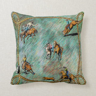 Western Pillow Rodeo Events With Rope Border