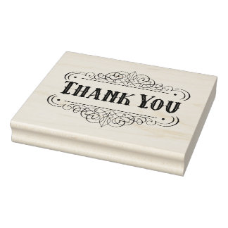 Western Pinstriping Thank You Rubber Stamp