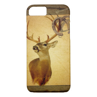 Western Primitive barn wood buck white tail deer iPhone 8/7 Case