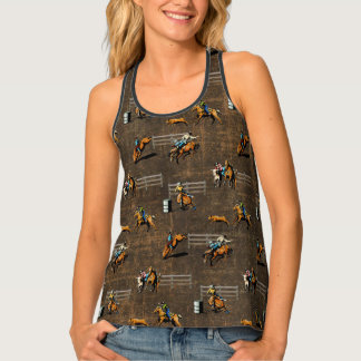 Western Print Top With Rodeo Events Brown