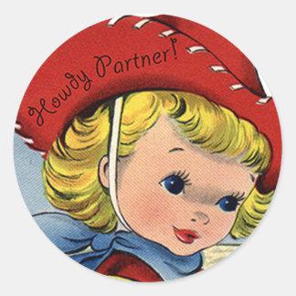 Western Retro Lil' Cowgirl Howdy Fun Stickers