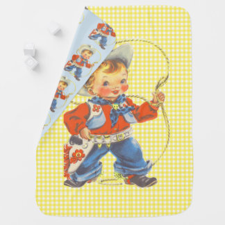 Western Retro Little Cowboy With Rope Blanket 2 Baby Blankets