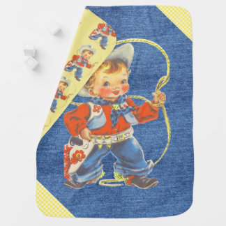 Western Retro Little Cowboy With Rope Blanket Stroller Blanket