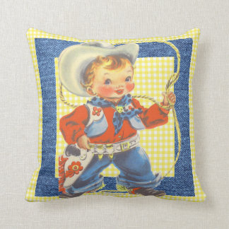 Western Retro Little Cowboy With Rope Pillow