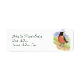 Western Robin, Bird, Address Label