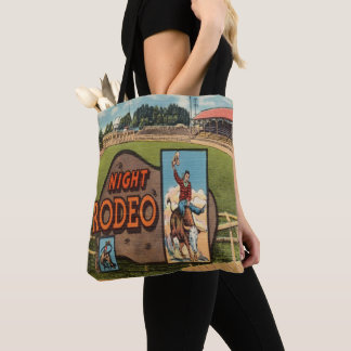 Western Rodeo Bull Rider Night Rodeo Vintage Print Tote Bag
