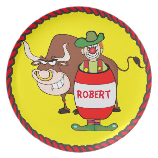 Western Rodeo Clown and Bull Personalize Dinner Plate