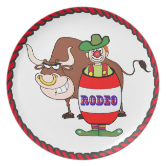 Western Rodeo Clown and Bull Plate