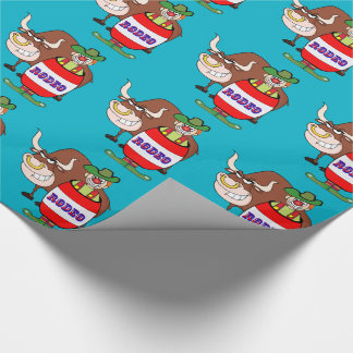 Western Rodeo Clown In Barrel And Bull Wrapping Paper