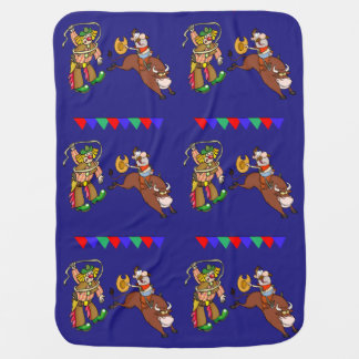 Western Rodeo Cowboy Bull Rider And Rodeo Clown Baby Blanket