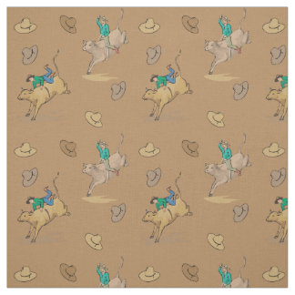 Western Rodeo Cowboy Bull Riding And Cowboy Hats Fabric