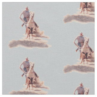 Western Rodeo Cowboy Calf Roping Print Fabric