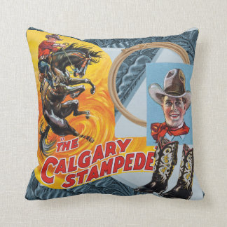 Western Rodeo Cowboy Collage Print Throw Pilow Throw Pillow