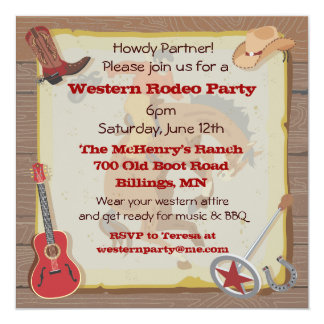 Western Rodeo Cowboy Party Invitation