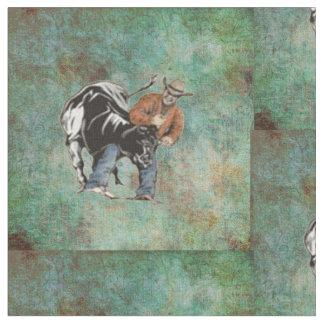 Western Rodeo Cowboy Steer Wrestling Print Fabric