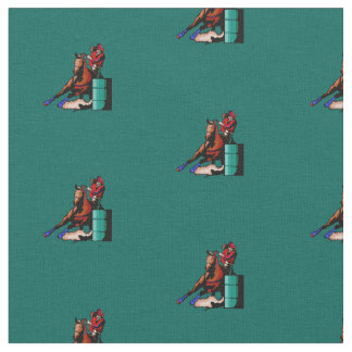 Western Rodeo Cowgirl Barrel Racing Fabric