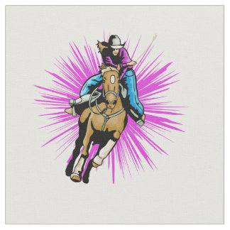 Western Rodeo Cowgirl Barrel Racing Running Horse Fabric