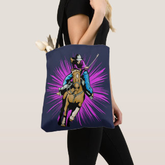 Western Rodeo Cowgirl Riding Horse Running Tote Bag