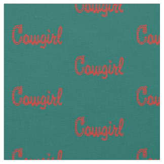 Western Rodeo Cowgirl Rope Text Dark Teal/Red Fabric