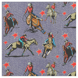 Western Rodeo Cowgirls Riding Horses Design Fabric