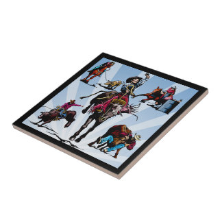 Western Rodeo Events Cowboys Cowgirls Tile