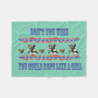 Western Rodeo Fleece Blanket Rodeo Cowgirl