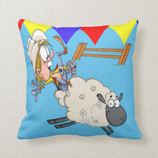 Western  Rodeo Mutton Bustin' Cartoon Kid Throw Pillow
