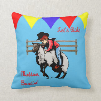 Western  Rodeo Mutton Bustin'  Kid Throw Pillow