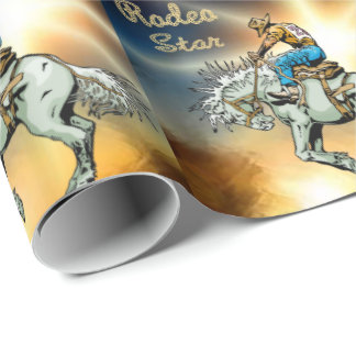 Western Rodeo Star Bronc Rider Wrapping Paper