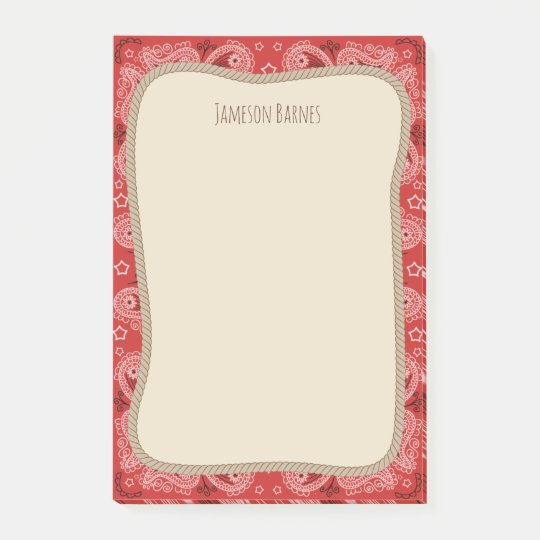 Western Rope Red Bandana Personalized Post-it Notes