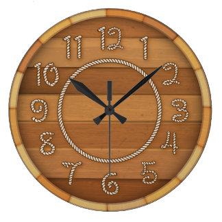 Western Rope Time Wood Beer Barrel Large Clock