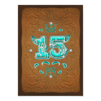 Western Rustic Brown & Turquoise FIFTEEN 15 Party Card