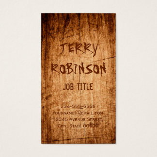 Western Rustic Scratched Wood Grain Cool Stylish Business Card