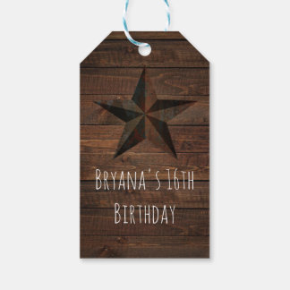 Western Rusty Star on Wood Rustic Country Party Pack Of Gift Tags