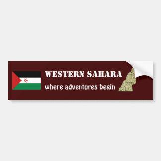 Western Sahara Flag + Map Bumper Sticker