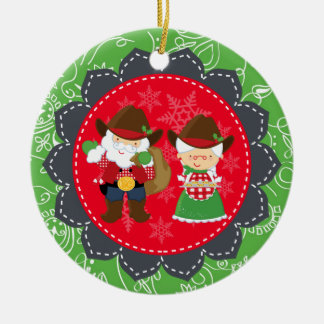 Western Santa, Mrs Clause 1st Christmas Ornament