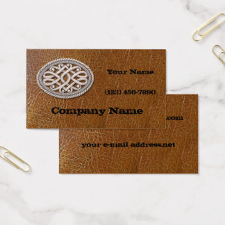 Western Silver Belt Buckle Aged Leather Business Card