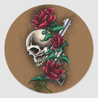 Western Skull with Red Roses and Revolver Pistol Round Sticker